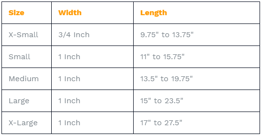 Classic LED Dog Collar Sizing Chart