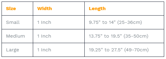 Premium LED Dog Collar Sizing Chart