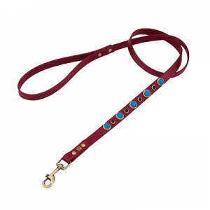 Turquoise & Onyx Dog Leather Leash