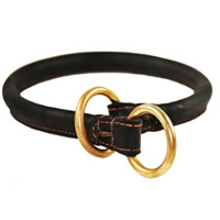 Dark Rolled Leather Collar